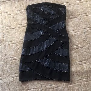 Strapless black and faux leather cocktail dress